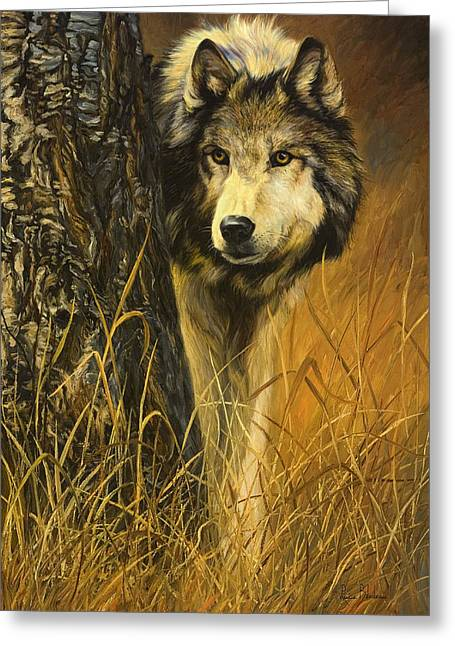 Wolf Greeting Cards - Interested Greeting Card by Lucie Bilodeau