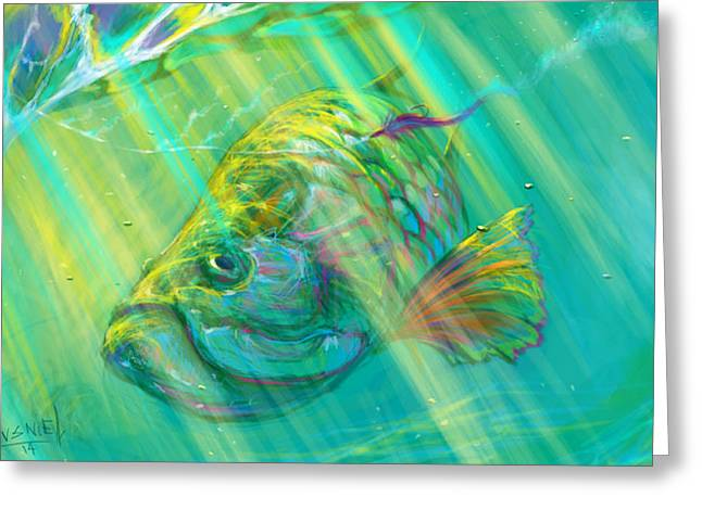 Swordfish Digital Art Greeting Cards - Interesting  Greeting Card by Yusniel Santos