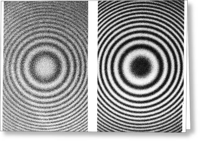 Experiment Greeting Cards - Interference rings as length standards Greeting Card by Science Photo Library