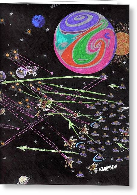 Intergalactic Space Greeting Cards - Intergalactic Apocalypse of the Paisley Planet Greeting Card by Cody Smith