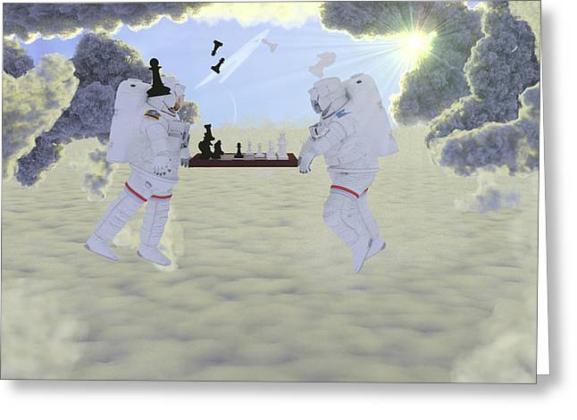 Intergalactic Space Greeting Cards - Intergalactic Chess Greeting Card by Brainwave Pictures
