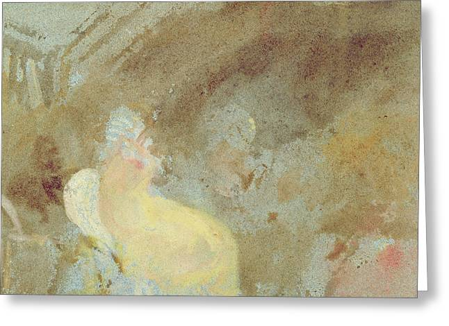 Gouache Abstract Greeting Cards - Interior at Petworth with seated figure Greeting Card by Joseph Mallord William Turner