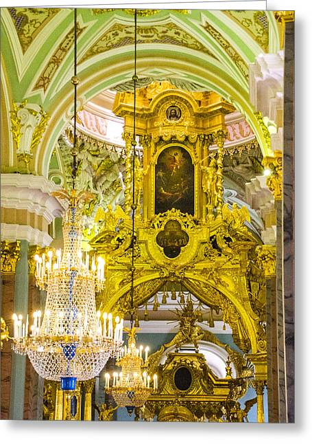 Interior - Cathedral Of Saints Peter And Paul - St Petersburg Russia Greeting Card by Jon Berghoff