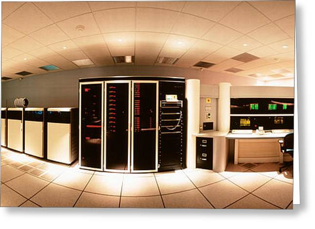 Automation Greeting Cards - Interior Computer Room Greeting Card by Panoramic Images