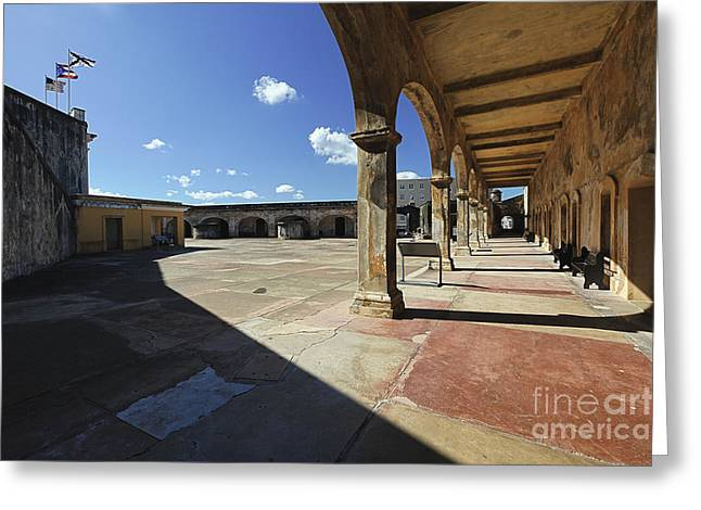 Interior Courtyard Of Fort Cristobal Greeting Card by George Oze