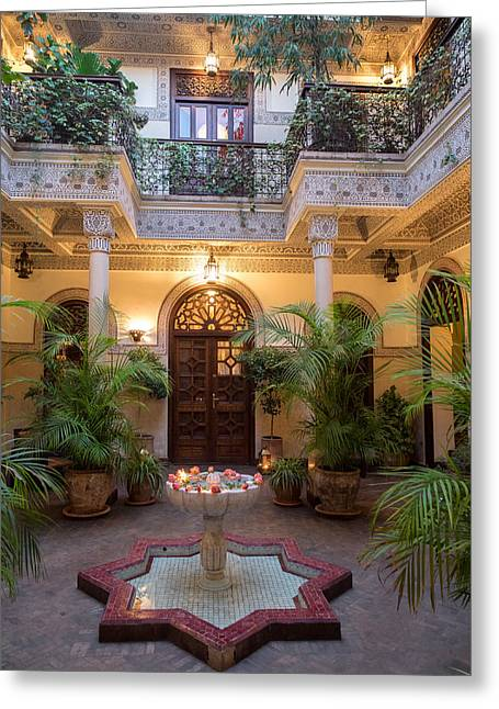 Marrakesh Greeting Cards - Interior Courtyard Of Villa Des Greeting Card by Panoramic Images