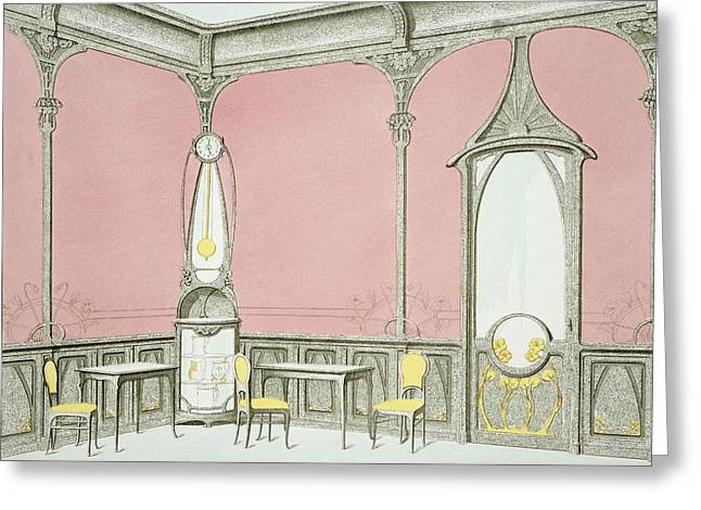 Dining Room Drawings Greeting Cards - Interior Design For A Brasserie Greeting Card by F. Barabas