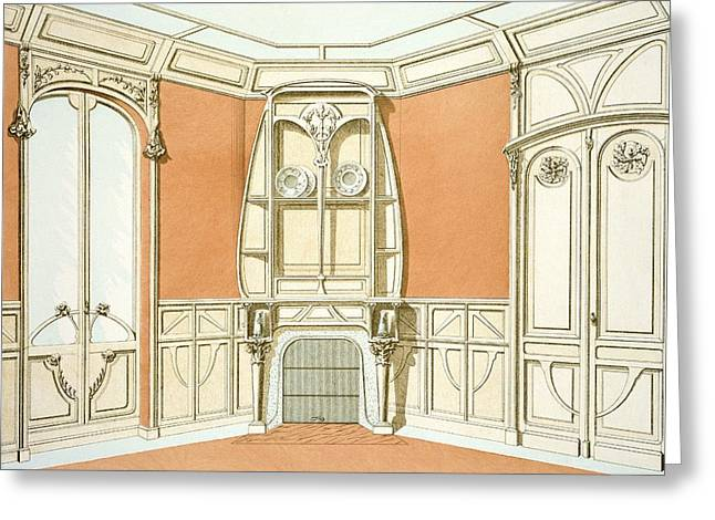 French Door Drawings Greeting Cards - Interior Design For A Dining Room Greeting Card by F. Barabas