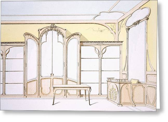 Art Nouveau Drawings Greeting Cards - Interior Design For A Fashion Shop Greeting Card by F. Barabas