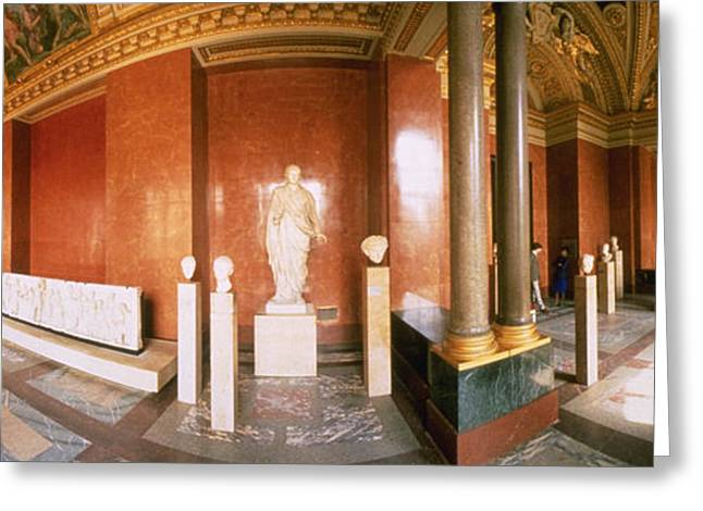 Artistic Photography Greeting Cards - Interior Louvre Museum Greco Roman Room Greeting Card by Panoramic Images