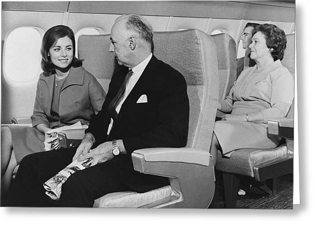 Mid Adult Women Greeting Cards - Interior Mockup Of A DC-9 Greeting Card by Underwood Archives