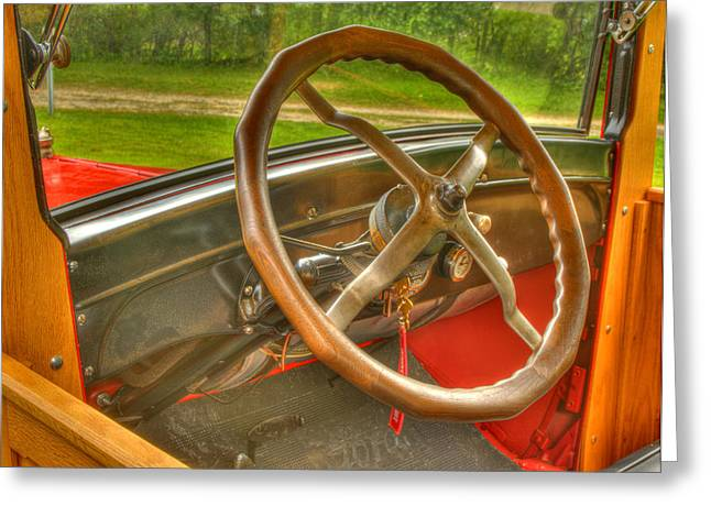 Ford Model T Car Greeting Cards - Interior of a 1926 Model T Ford Greeting Card by Thomas Young