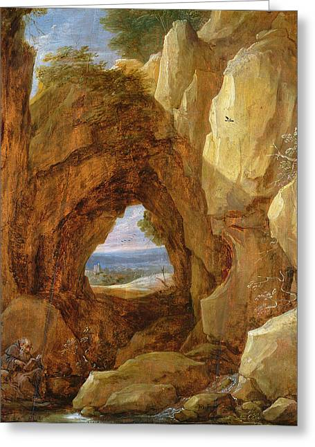 Cavern Greeting Cards - Interior Of A Cave Oil On Canvas Greeting Card by David the Younger Teniers