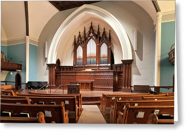 Interior Of A Church And Organ Pipes Greeting Card by Panoramic Images