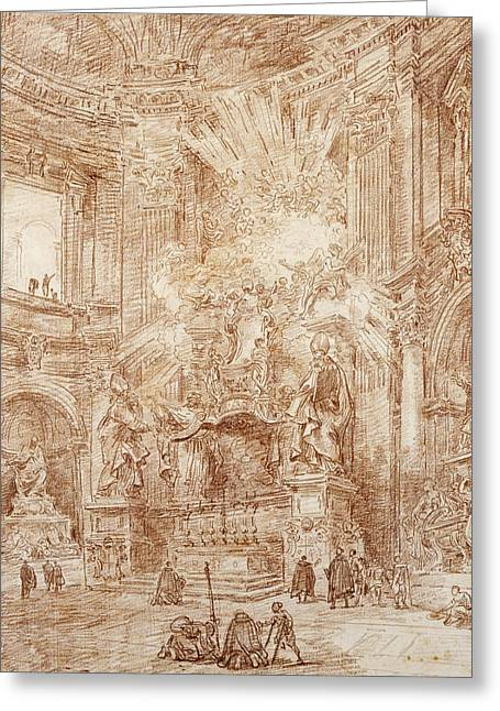 Baroque Greeting Cards - Interior Of A Church Red Chalk On Paper Greeting Card by Hubert Robert