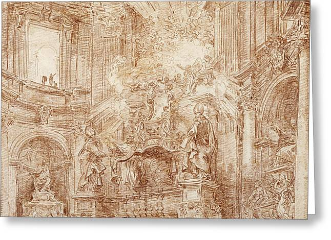 Interior Of A Church  Greeting Card by Hubert Robert