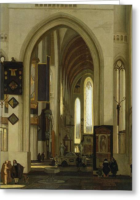 Monks Greeting Cards - Interior Of A Church With Figures, 1685 Oil On Panel Greeting Card by Emanuel de Witte