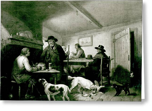Hound Drawings Greeting Cards - Interior Of A Country Inn Greeting Card by George Morland