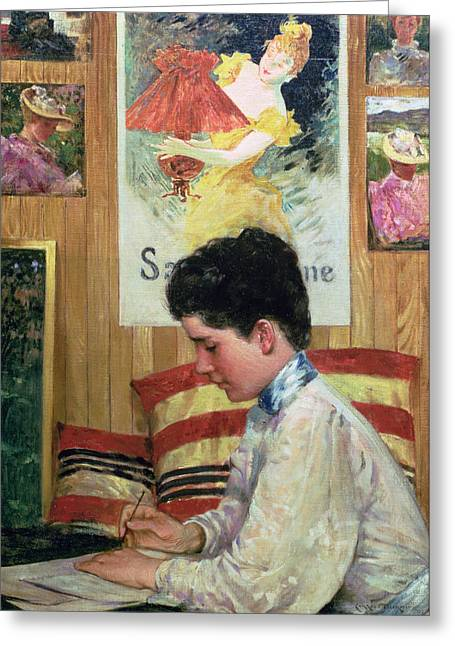 Concentrating Greeting Cards - Interior Of A Country Studio Greeting Card by James Carroll Beckwith