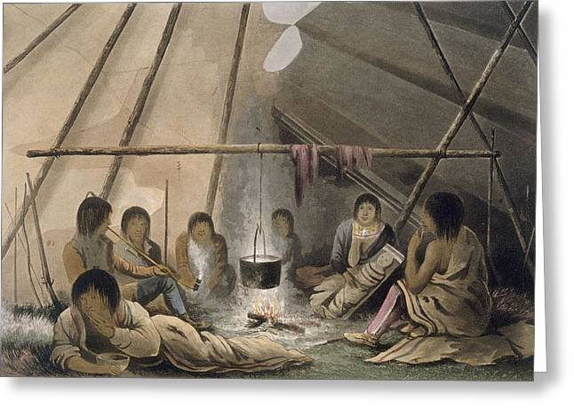Native American Illustration Greeting Cards - Interior Of A Cree Indian Tent, 1824 Greeting Card by Lieutenant Hood