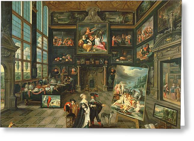 Visitors Greeting Cards - Interior Of A Gallery, 1637 Oil On Panel Greeting Card by Cornelis de I Baellieur