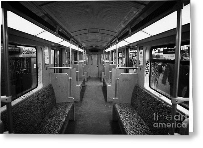 Berlin Germany Greeting Cards - Interior of a german u-bahn train Berlin Germany Greeting Card by Joe Fox