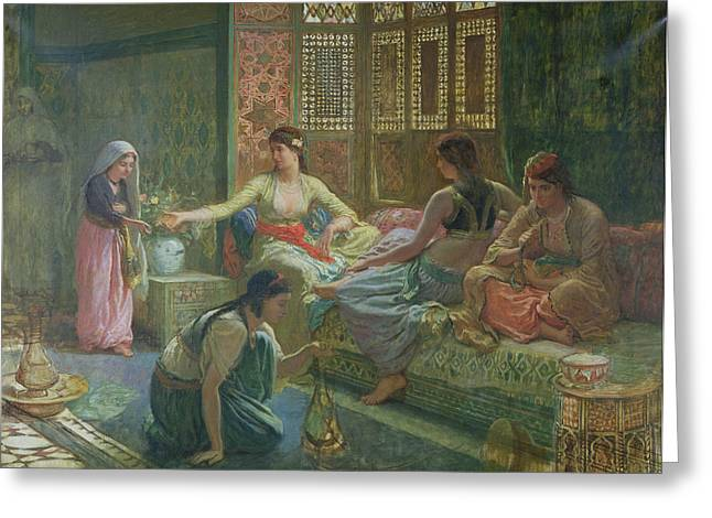 Seraglio Greeting Cards - Interior Of A Harem, C.1865 Oil On Canvas Greeting Card by Leon-Auguste-Adolphe Belly