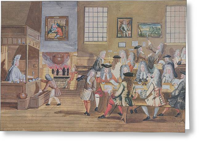 Coffee Drinking Greeting Cards - Interior Of A London Coffee House, C.1650-1750 Wc On Paper Greeting Card by English School