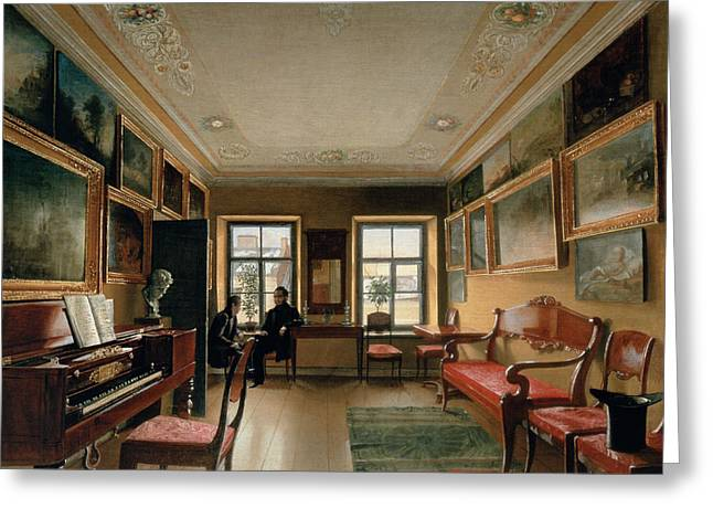 Estate Greeting Cards - Interior Of A Manor House, 1830s Oil On Canvas Greeting Card by Alexei Vasilievich Tyranov