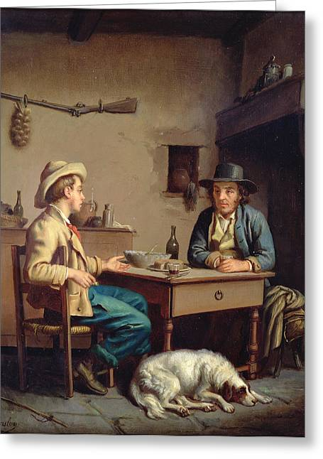 Rifle Photographs Greeting Cards - Interior Of A Peasants Cottage, C.1903 Oil On Canvas Greeting Card by Edouard Amable Onslow