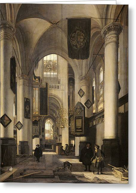 Old And New Greeting Cards - Interior of a Protestant Church with Gothic motifs of the Old and the New Church in Amsterdam Greeting Card by Emanuel de Witte