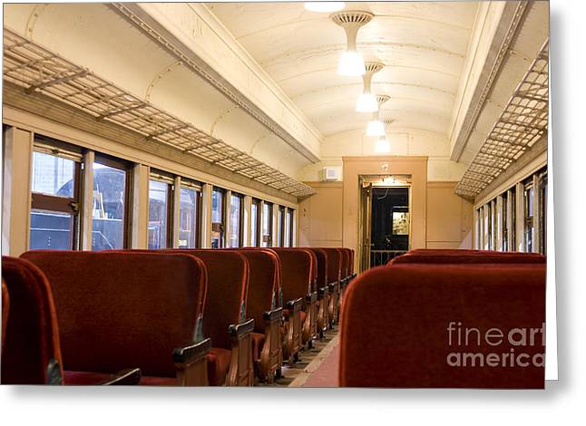 Cabin Interiors Photographs Greeting Cards - Interior of a Pullman train of 1930s Greeting Card by Patricia Hofmeester
