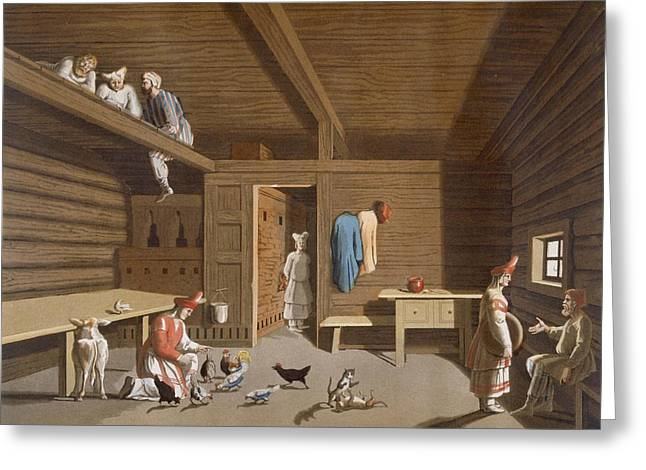 Cabin Interiors Drawings Greeting Cards - Interior Of A Russian Peasant Home Greeting Card by Italian School