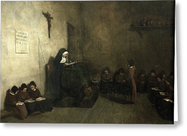 Interior Of A School For Orphaned Girls, 1850 Oil On Canvas Greeting Card by Francois Bonvin
