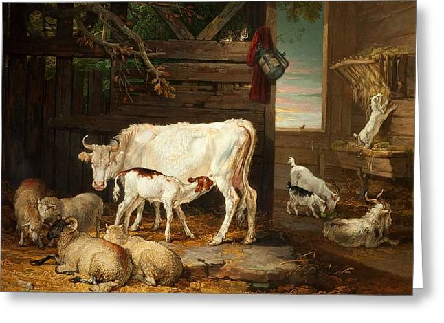 Stable Greeting Cards - Interior Of A Stable, 1810 Greeting Card by James Ward