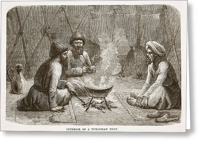 Interior Of A Turcoman Tent Greeting Card by English School