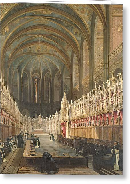 Interior Of Albi Cathedral, 1832 Oil On Canvas Greeting Card by Adrien Dauzats