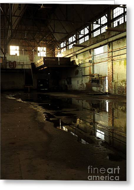 Puddle Greeting Cards - Interior Of An Abandoned Factory Greeting Card by HD Connelly