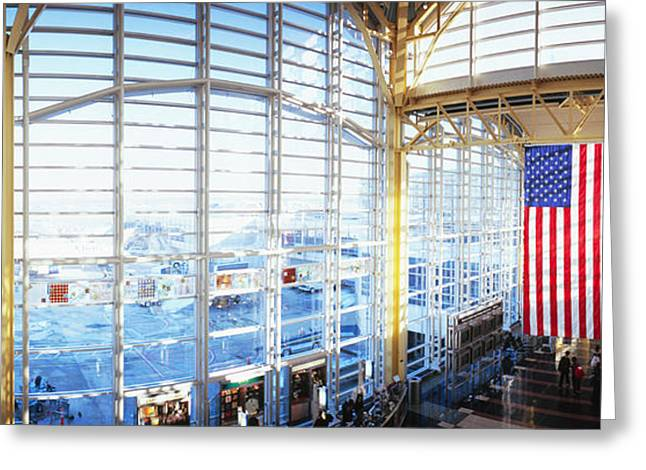 Flag Of Usa Greeting Cards - Interior Of An Airport, Ronald Reagan Greeting Card by Panoramic Images