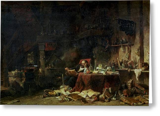 Chaotic Greeting Cards - Interior Of An Alchemists Study Oil On Canvas Greeting Card by Louis Eugene Gabriel Isabey