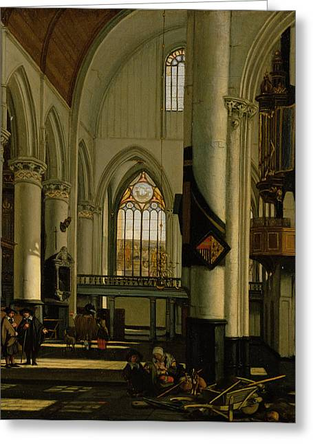 Barrow Greeting Cards - Interior Of An Imaginary Protestant Gothic Church Oil On Canvas Greeting Card by Emanuel de Witte