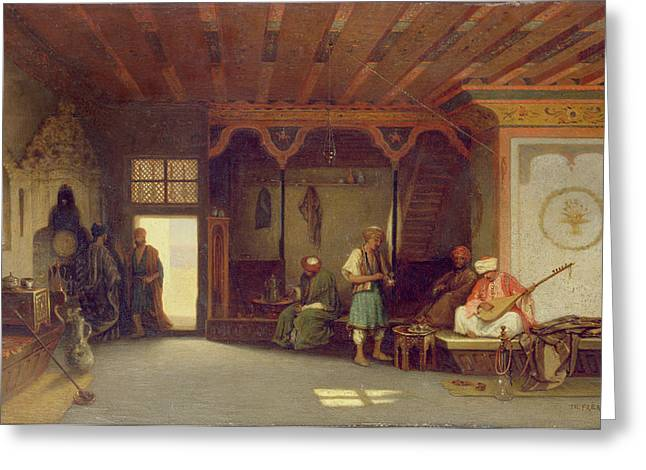 Orientalists Photographs Greeting Cards - Interior Of An Oriental Cafe Oil On Panel Greeting Card by Charles Theodore Frere