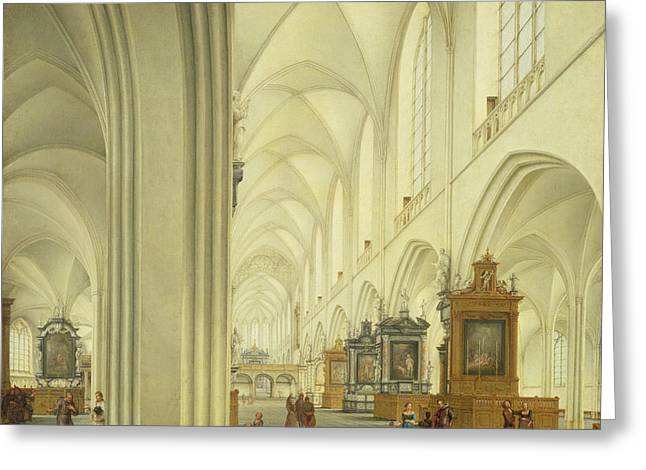 Interior Of Antwerp Cathedral, C.1668 Greeting Card by Isaac van Nickele