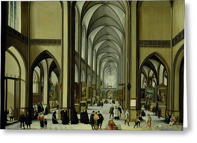 Interior Of Antwerp Cathedral Oil On Canvas Greeting Card by Hendrik van Steenwyck