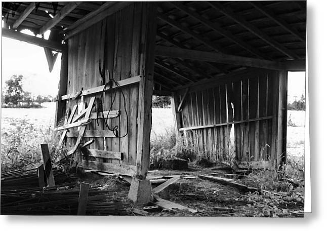 Interior of Barn in Plainville Indiana Greeting Card by Julie Dant