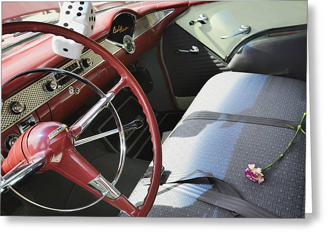 Steering Greeting Cards - Interior Of Chevrolet Bel Air Edmonton Greeting Card by Peter Carroll