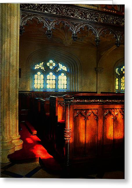 Royal Chapel Greeting Cards - Interior of Gothic Revival Chapel. Streets of Dublin.Gothic Collection Greeting Card by Jenny Rainbow