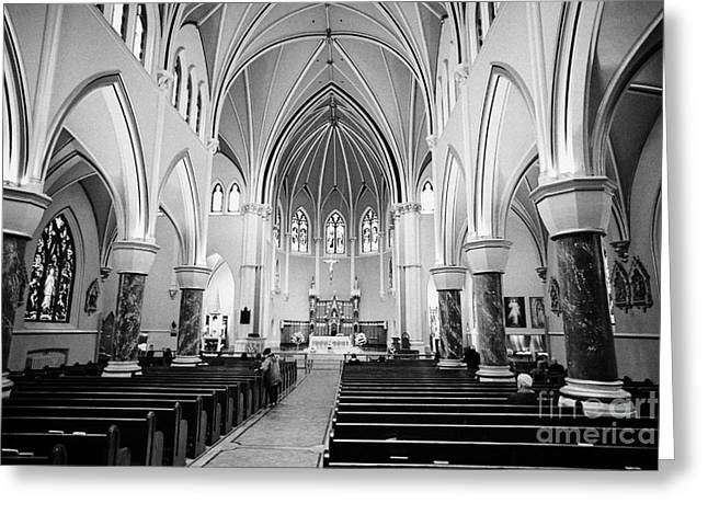 Rosary Greeting Cards - interior of holy rosary cathedral headquarters of the roman catholic archdiocese of Vancouver BC Can Greeting Card by Joe Fox