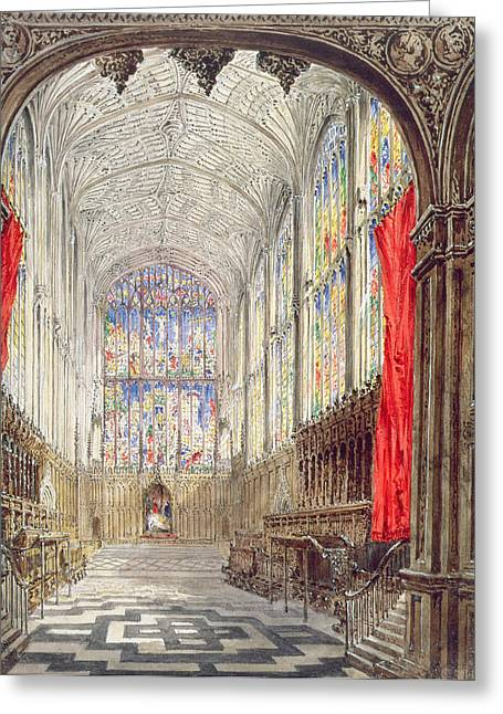 Duke Drawings Greeting Cards - Interior Of Kings College Chapel, 1843 Greeting Card by Joseph Murray Ince