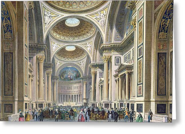 Cupola Photographs Greeting Cards - Interior Of La Madeleine, Paris Colour Litho Greeting Card by Philippe Benoist